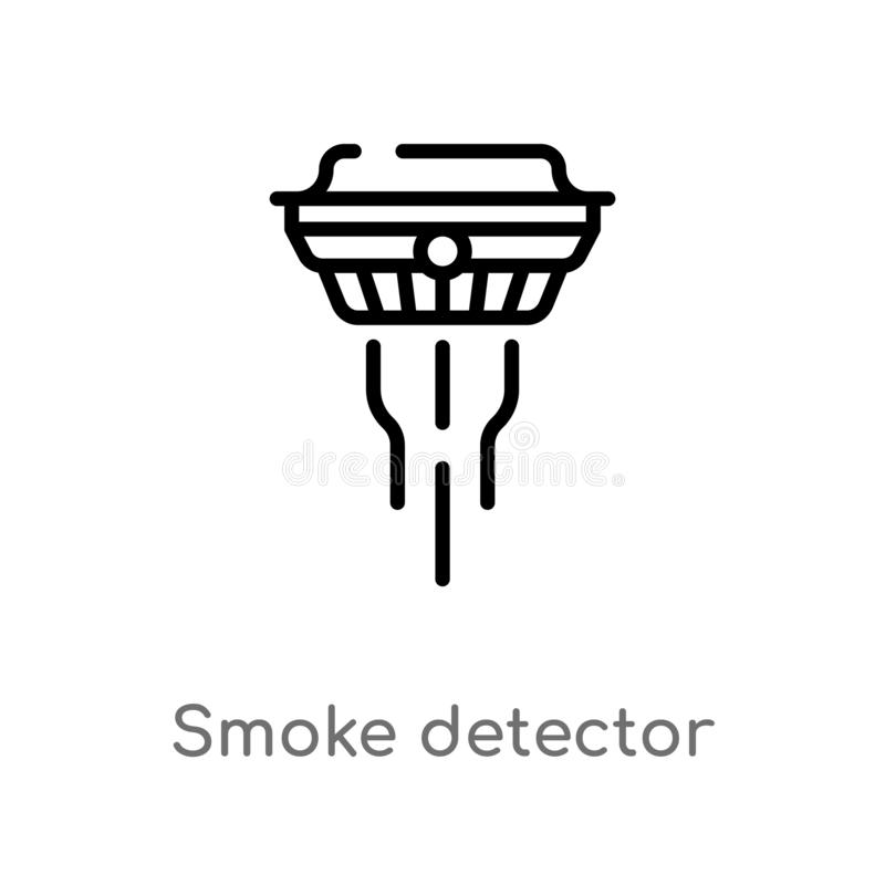 Outline smoke detector vector icon. isolated black simple line element illustration from electronic devices concept. editable. Vector stroke smoke detector icon royalty free illustration