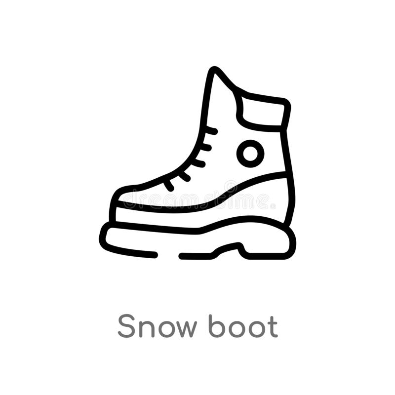 Outline Snow Boot Vector Icon. Isolated Black Simple Line