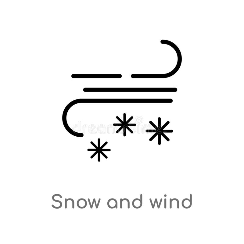 Outline snow and wind vector icon. isolated black simple line element illustration from meteorology concept. editable vector. Stroke snow and wind icon on white stock illustration