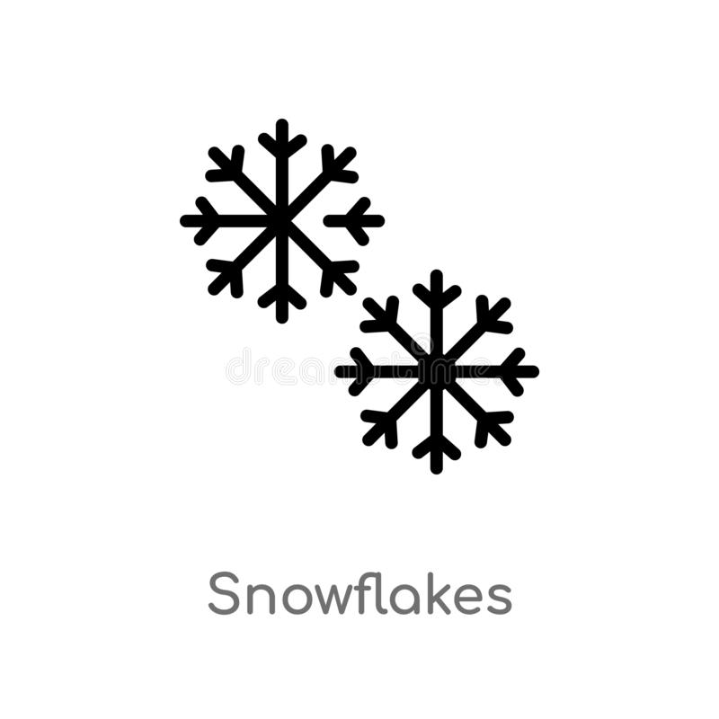 outline snowflakes vector icon. isolated black simple line element illustration from weather concept. editable vector stroke royalty free illustration