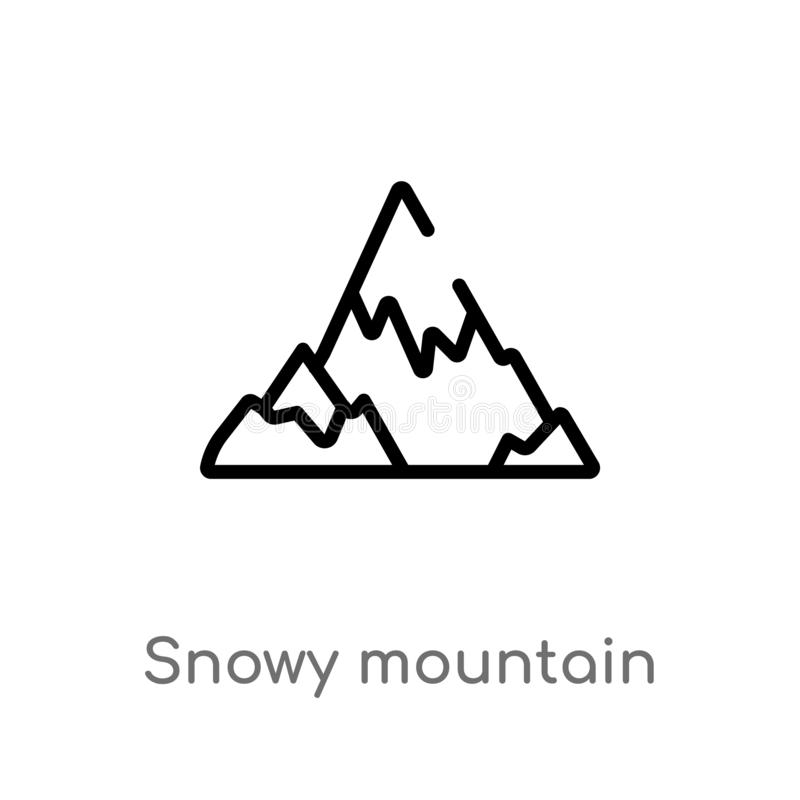 outline snowy mountain vector icon. isolated black simple line element illustration from winter concept. editable vector stroke vector illustration