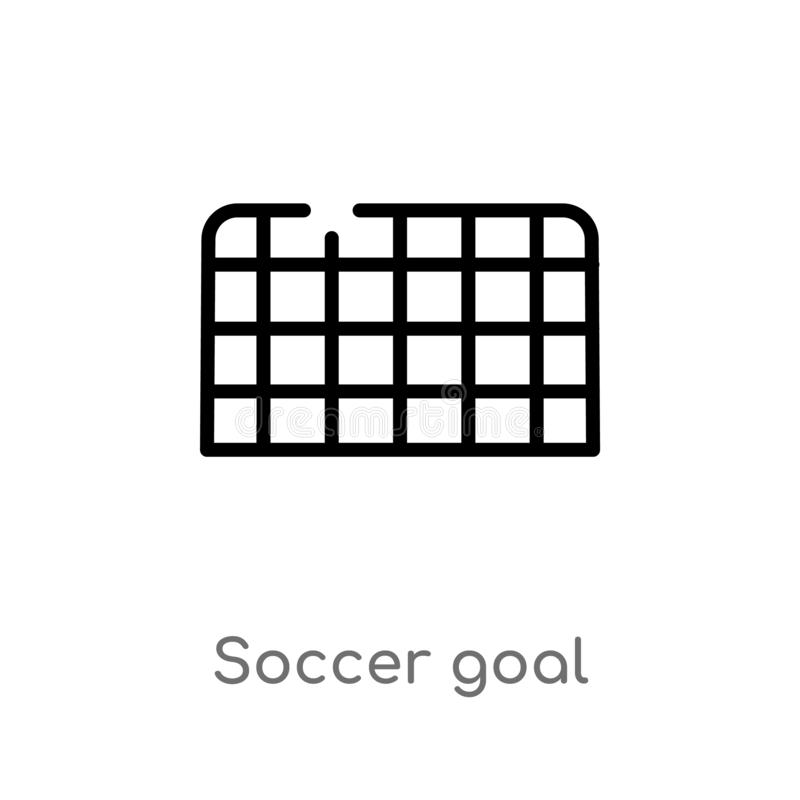 Outline soccer goal vector icon. isolated black simple line element illustration from football concept. editable vector stroke. Soccer goal icon on white vector illustration