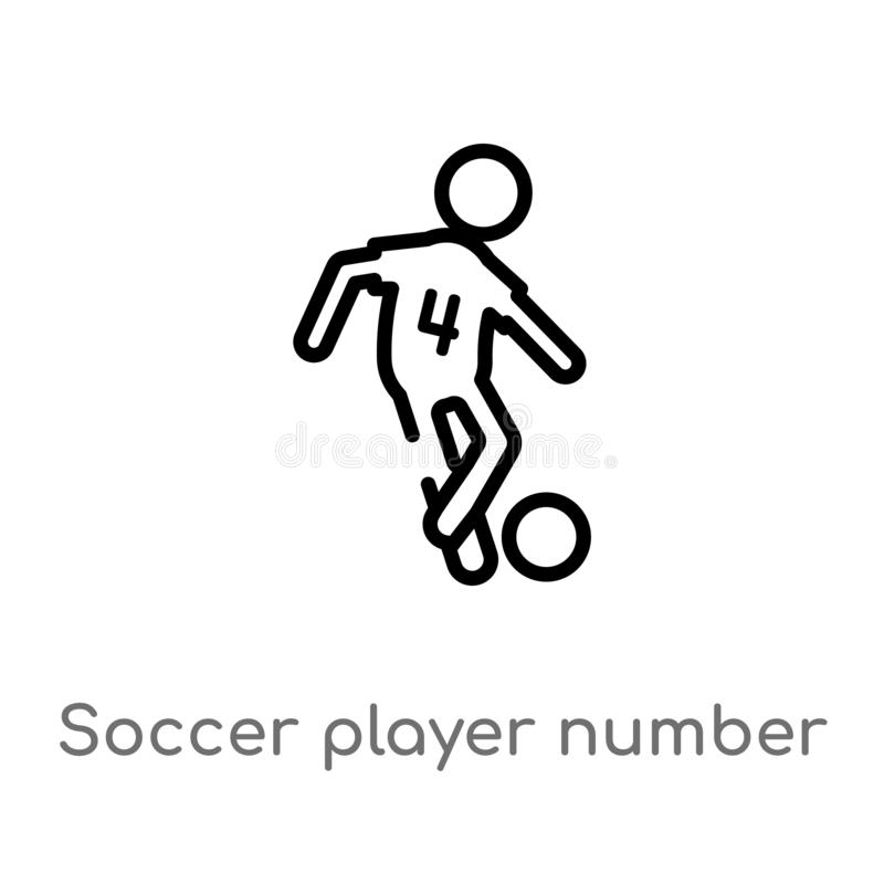 Outline soccer player number four vector icon. isolated black simple line element illustration from sports concept. editable. Vector stroke soccer player number royalty free illustration