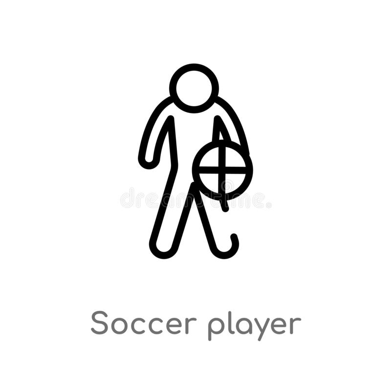 Outline soccer player vector icon. isolated black simple line element illustration from football concept. editable vector stroke. Soccer player icon on white royalty free illustration