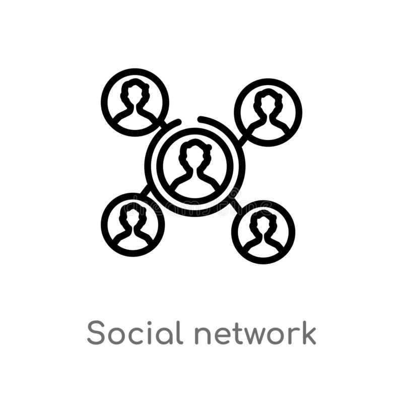 outline social network vector icon. isolated black simple line element illustration from blogger and influencer concept. editable royalty free illustration