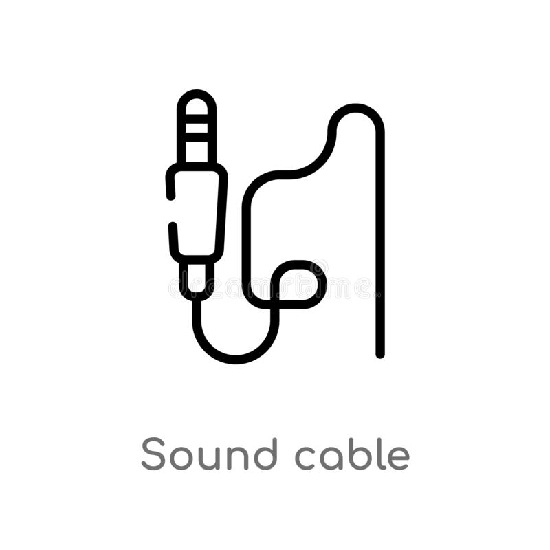 Outline sound cable vector icon. isolated black simple line element illustration from electronic devices concept. editable vector. Stroke sound cable icon on vector illustration