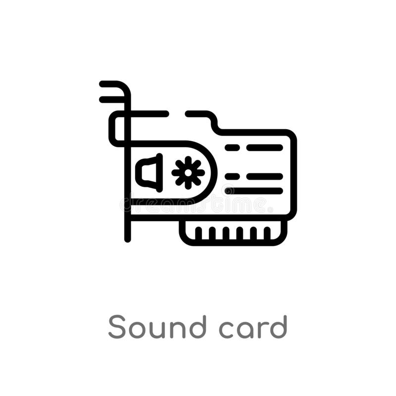 Outline sound card vector icon. isolated black simple line element illustration from electronic devices concept. editable vector. Stroke sound card icon on royalty free illustration