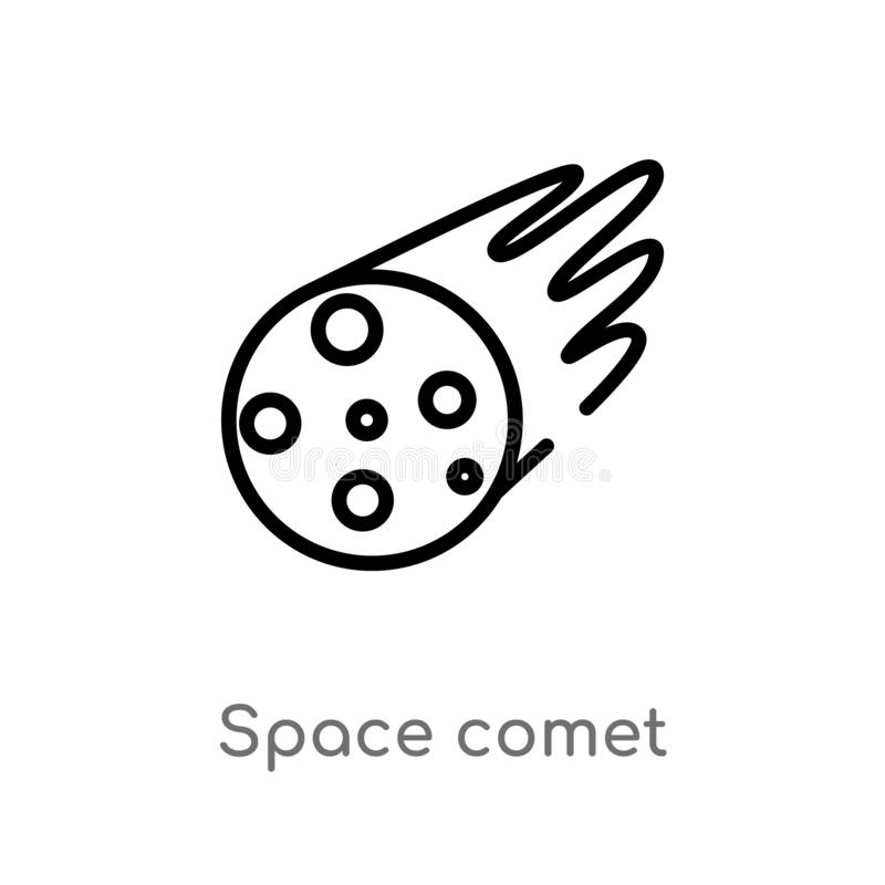 Outline space comet vector icon. isolated black simple line element illustration from meteorology concept. editable vector stroke. Space comet icon on white vector illustration