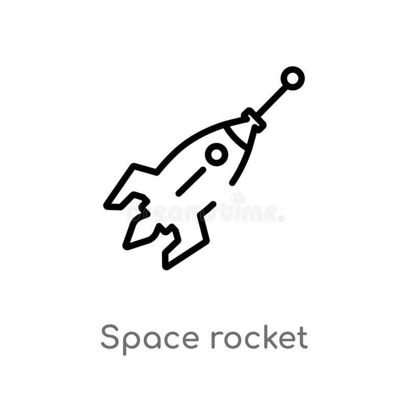 Outline space rocket vector icon. isolated black simple line element illustration from astronomy concept. editable vector stroke. Space rocket icon on white royalty free illustration