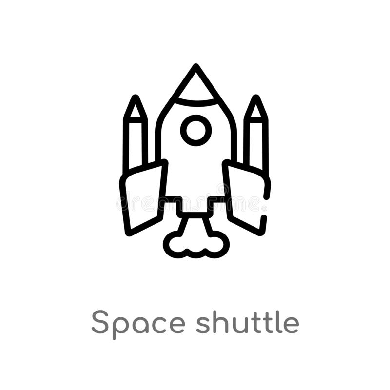 outline space shuttle vector icon. isolated black simple line element illustration from astronomy concept. editable vector stroke royalty free illustration