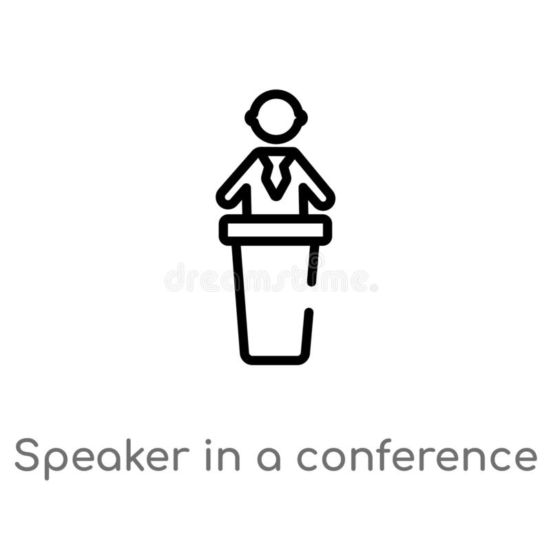 outline speaker in a conference vector icon. isolated black simple line element illustration from people concept. editable vector royalty free illustration