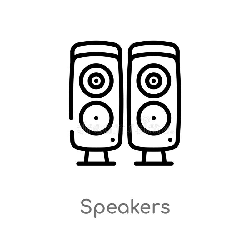 Outline speakers vector icon. isolated black simple line element illustration from electronic devices concept. editable vector. Stroke speakers icon on white stock illustration