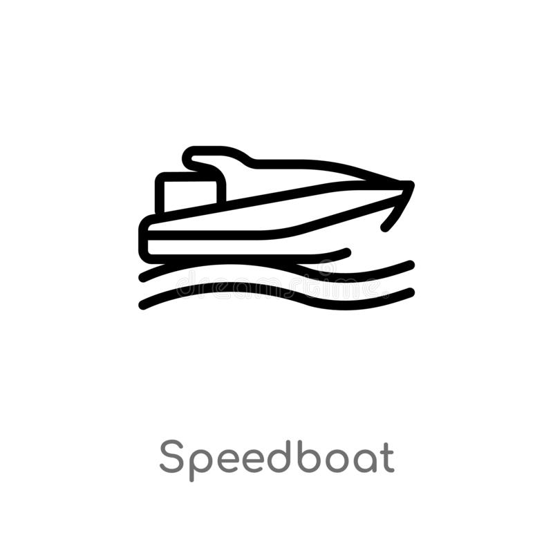 Outline speedboat vector icon. isolated black simple line element illustration from nautical concept. editable vector stroke. Speedboat icon on white background royalty free illustration