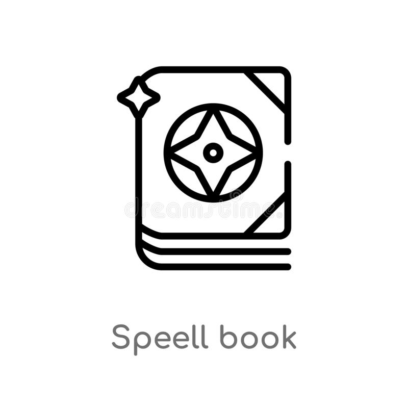 Outline speell book vector icon. isolated black simple line element illustration from other concept. editable vector stroke speell. Book icon on white stock illustration