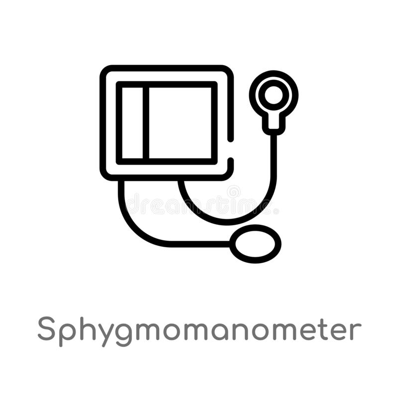 Outline sphygmomanometer vector icon. isolated black simple line element illustration from health and medical concept. editable. Vector stroke sphygmomanometer vector illustration