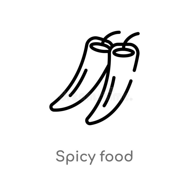 outline spicy food vector icon. isolated black simple line element illustration from food concept. editable vector stroke spicy stock illustration