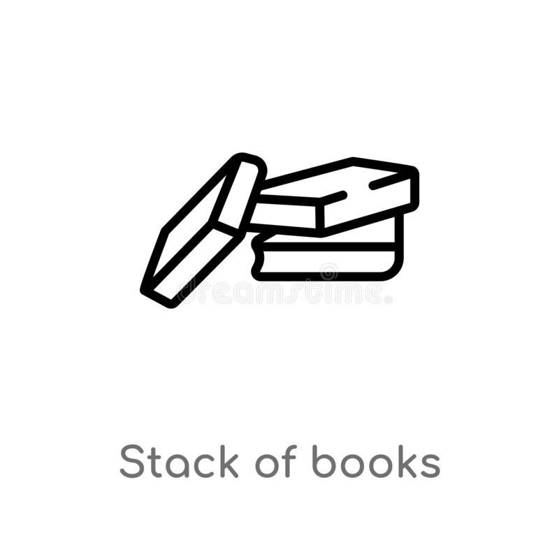 outline stack of books vector icon. isolated black simple line element illustration from education concept. editable vector stroke royalty free illustration