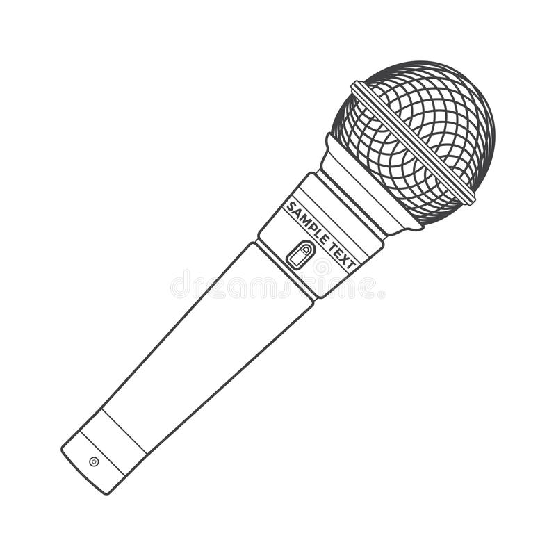 outline stage microphone stock vector  illustration of