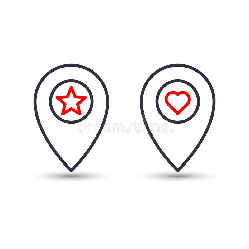 Outline star and heart in pinpoint icon. Favorite pin location gps map marker royalty free illustration