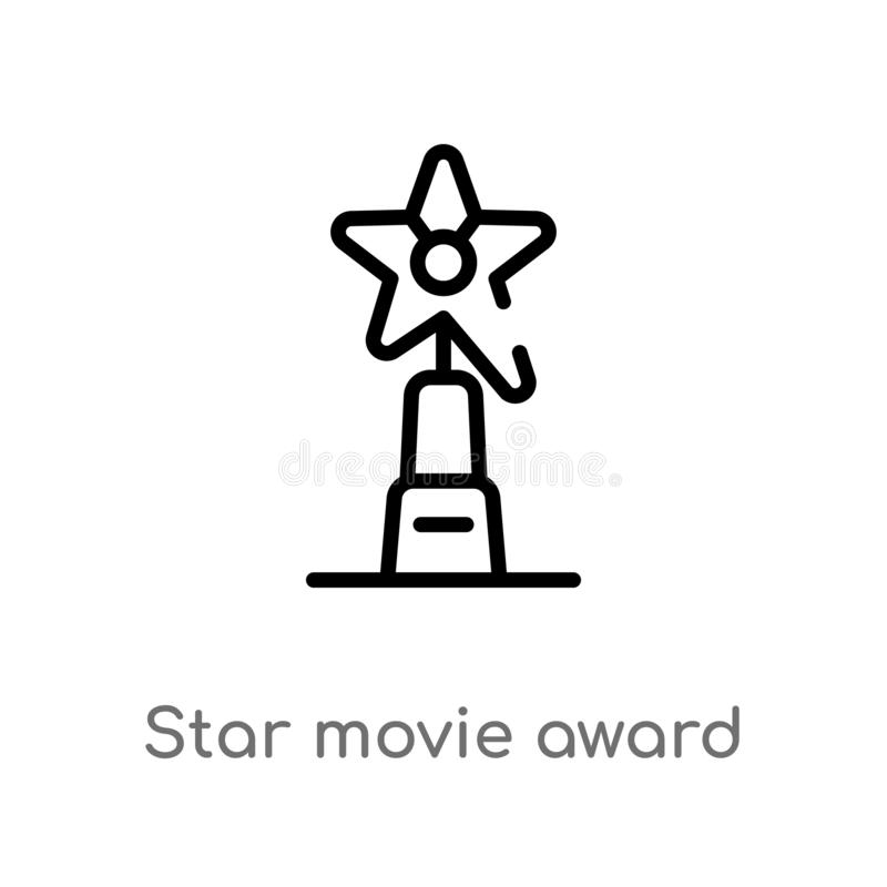 Outline star movie award vector icon. isolated black simple line element illustration from cinema concept. editable vector stroke. Star movie award icon on stock illustration
