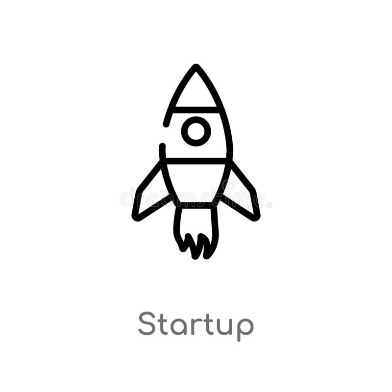 Outline startup vector icon. isolated black simple line element illustration from future technology concept. editable vector. Stroke startup icon on white vector illustration