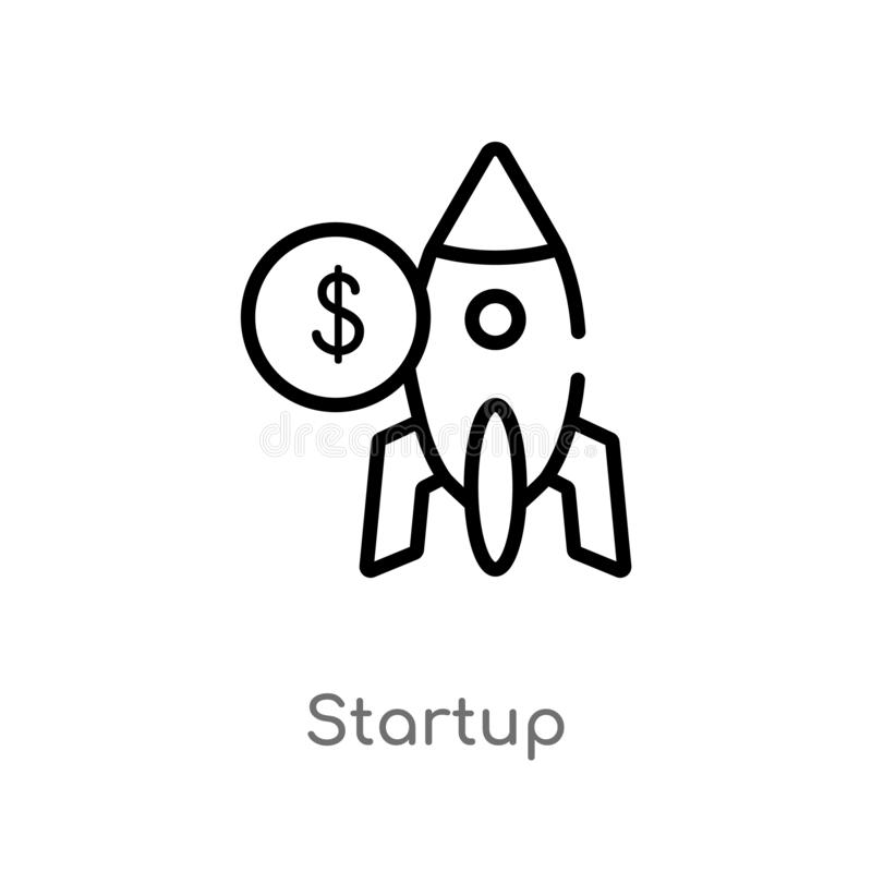 Outline startup vector icon. isolated black simple line element illustration from strategy concept. editable vector stroke startup. Icon on white background vector illustration