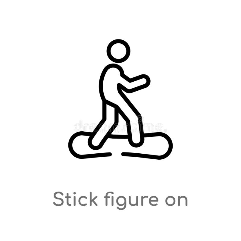 Outline stick figure on snowboard vector icon. isolated black simple line element illustration from sports concept. editable. Vector stroke stick figure on stock illustration