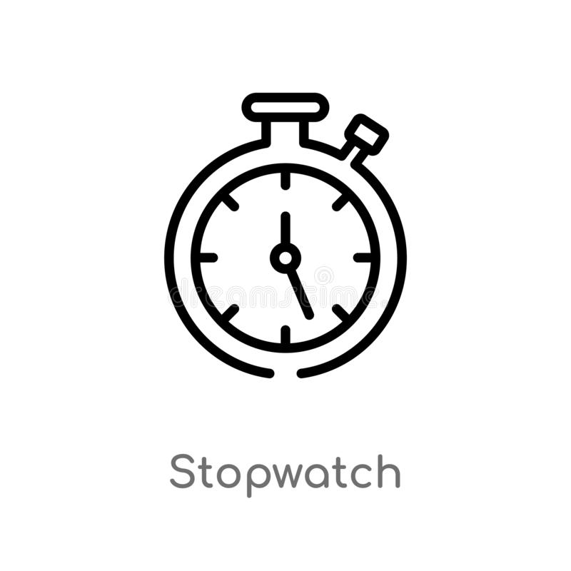 outline stopwatch vector icon. isolated black simple line element illustration from tools and utensils concept. editable vector royalty free illustration