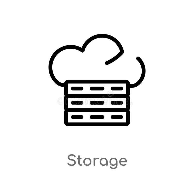 Outline storage vector icon. isolated black simple line element illustration from big data concept. editable vector stroke storage stock illustration