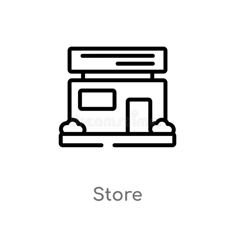 outline store vector icon. isolated black simple line element illustration from strategy concept. editable vector stroke store stock illustration