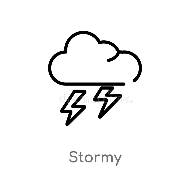 outline stormy vector icon. isolated black simple line element illustration from weather concept. editable vector stroke stormy royalty free illustration