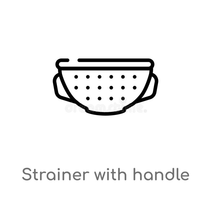 outline strainer with handle vector icon. isolated black simple line element illustration from bistro and restaurant concept. royalty free illustration
