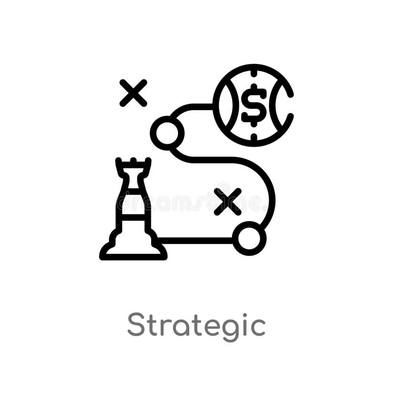 outline strategic vector icon. isolated black simple line element illustration from business concept. editable vector stroke vector illustration