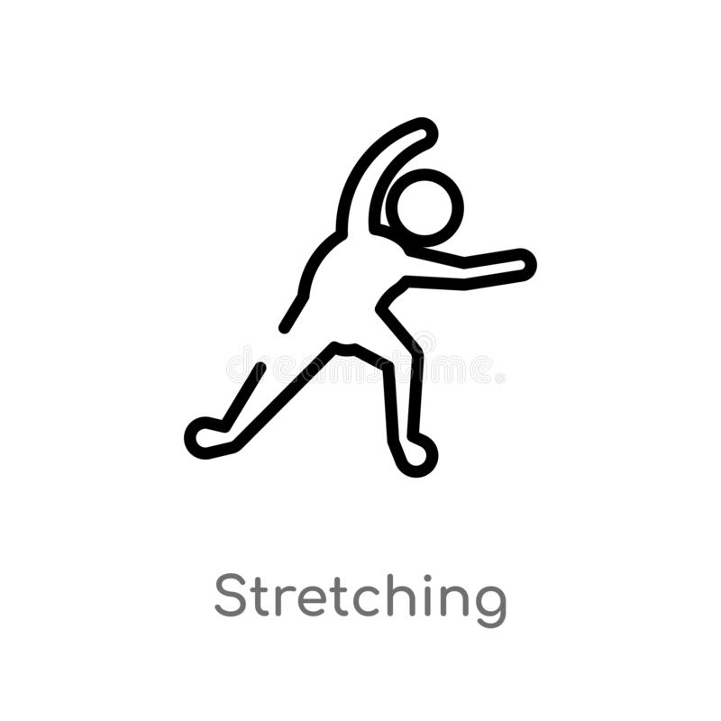 Outline stretching vector icon. isolated black simple line element illustration from sports concept. editable vector stroke. Stretching icon on white background vector illustration
