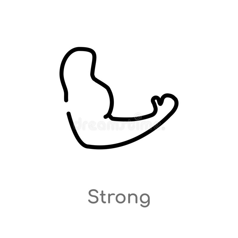 Outline strong vector icon. isolated black simple line element illustration from medical concept. editable vector stroke strong. Icon on white background royalty free illustration