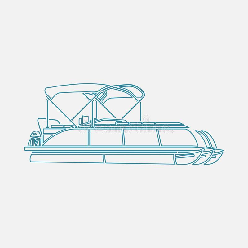 Free Outline Style Semi-Oblique Side View Pontoon Boat Vector Illustration Stock Photography - 135752982