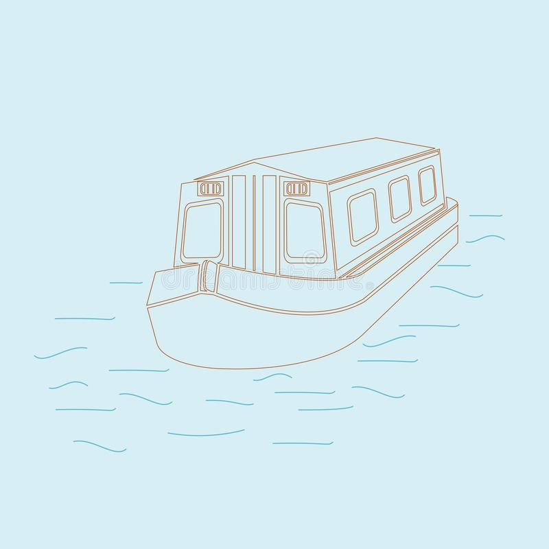 Free Outline Style Top Front Side View Canal Boat Vector Illustration Stock Image - 136999781