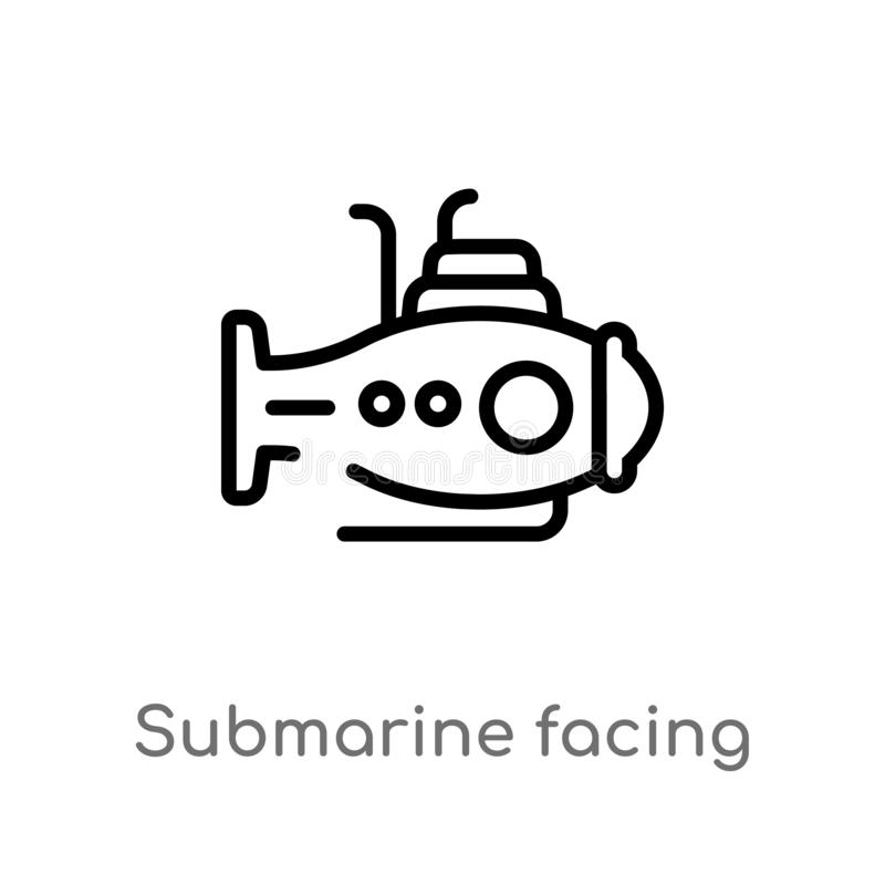 outline submarine facing right vector icon. isolated black simple line element illustration from nautical concept. editable vector stock illustration