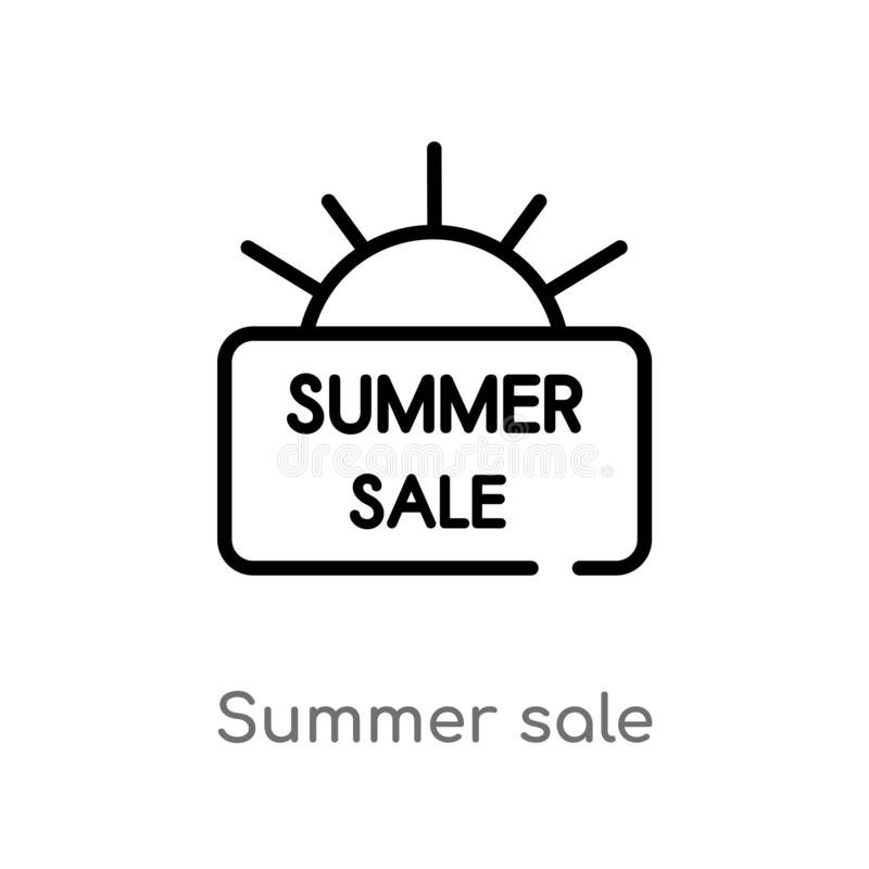 outline summer sale vector icon. isolated black simple line element illustration from summer concept. editable vector stroke royalty free illustration
