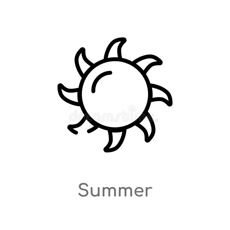 Outline summer vector icon. isolated black simple line element illustration from meteorology concept. editable vector stroke. Summer icon on white background stock illustration