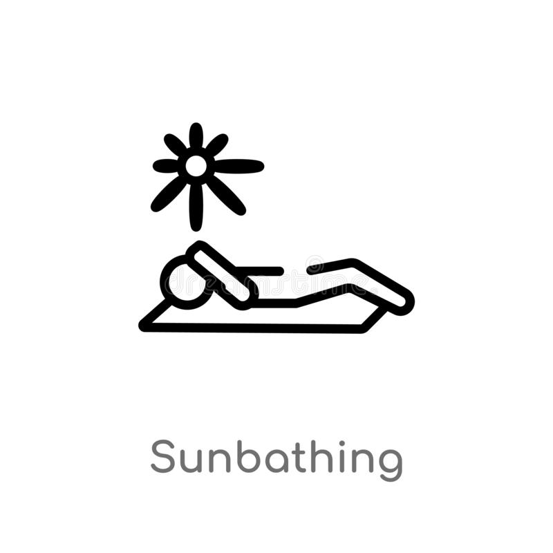 outline sunbathing vector icon. isolated black simple line element illustration from holidays concept. editable vector stroke royalty free illustration