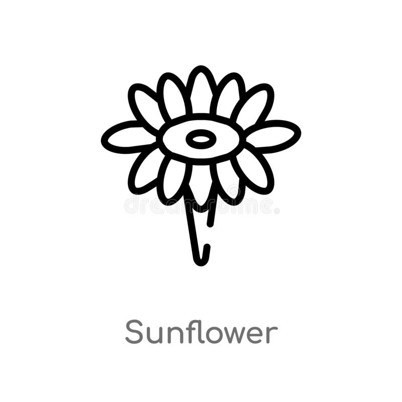 outline sunflower vector icon. isolated black simple line element illustration from brazilia concept. editable vector stroke stock illustration