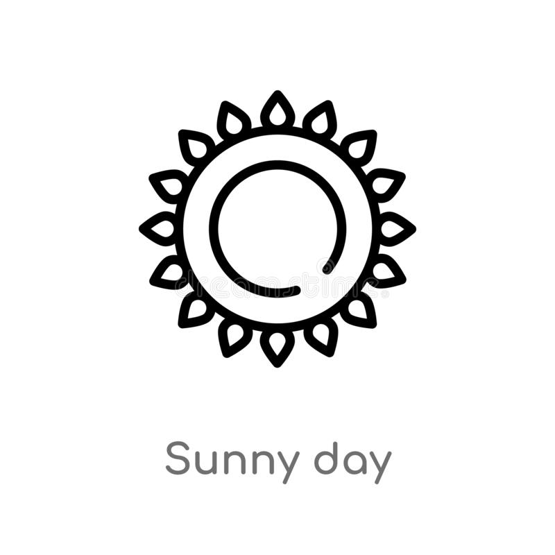 Outline sunny day vector icon. isolated black simple line element illustration from airport terminal concept. editable vector. Stroke sunny day icon on white vector illustration