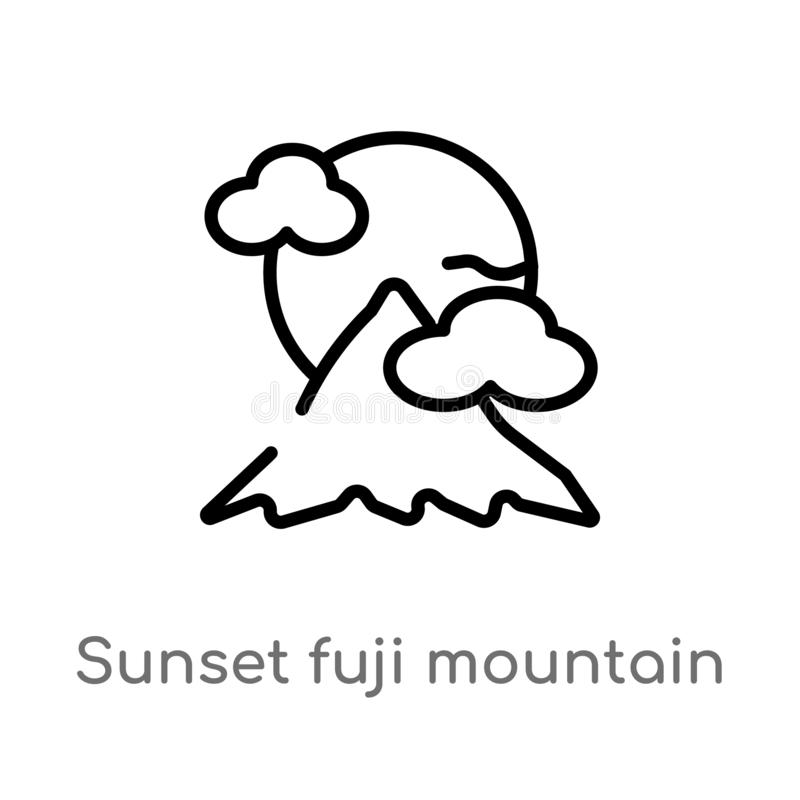 outline sunset fuji mountain vector icon. isolated black simple line element illustration from nature concept. editable vector royalty free illustration