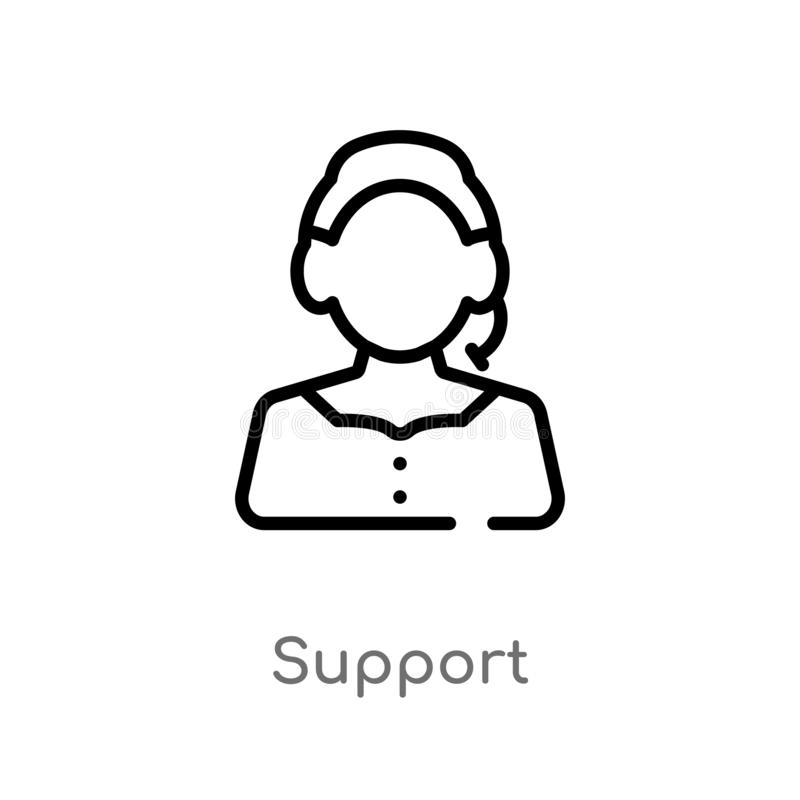 outline support vector icon. isolated black simple line element illustration from customer service concept. editable vector stroke stock illustration