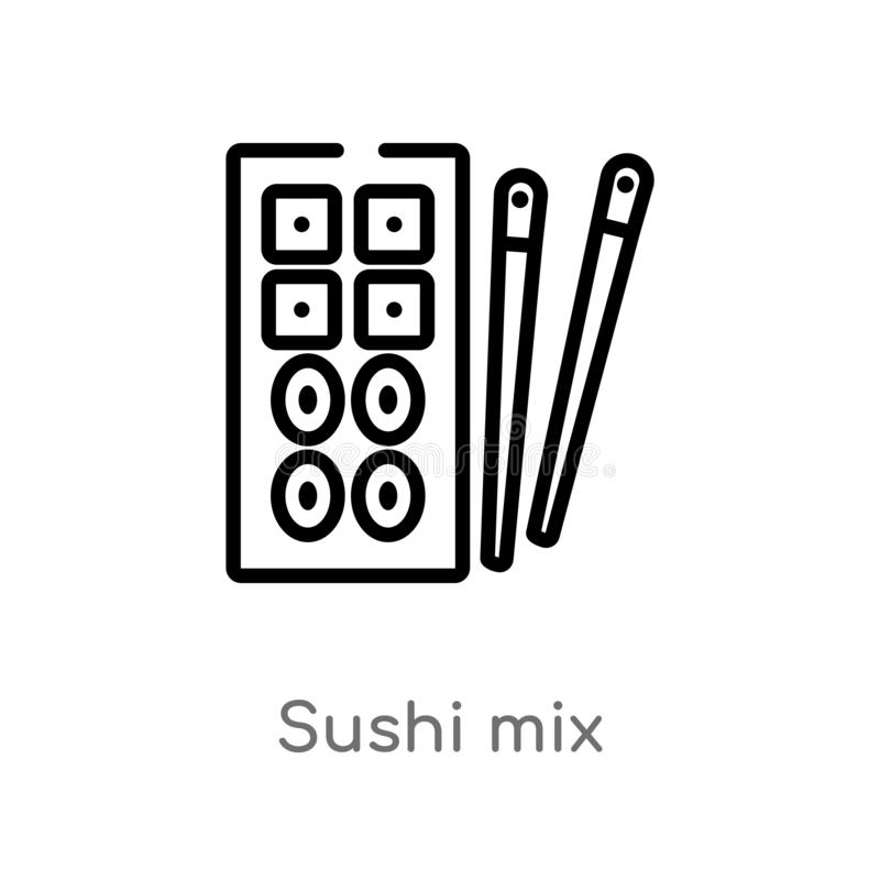 outline sushi mix vector icon. isolated black simple line element illustration from bistro and restaurant concept. editable vector royalty free illustration