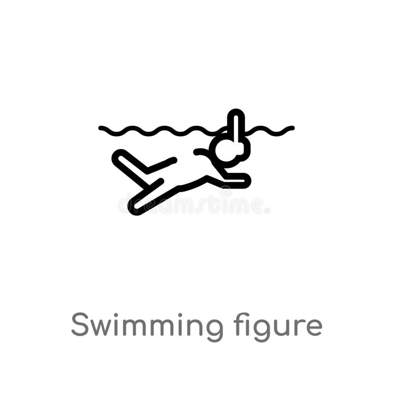 Outline swimming figure vector icon. isolated black simple line element illustration from sports concept. editable vector stroke. Swimming figure icon on white stock illustration