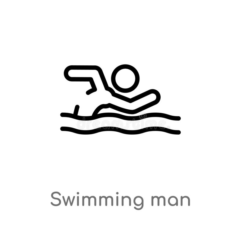 Outline swimming man vector icon. isolated black simple line element illustration from sports concept. editable vector stroke. Swimming man icon on white vector illustration