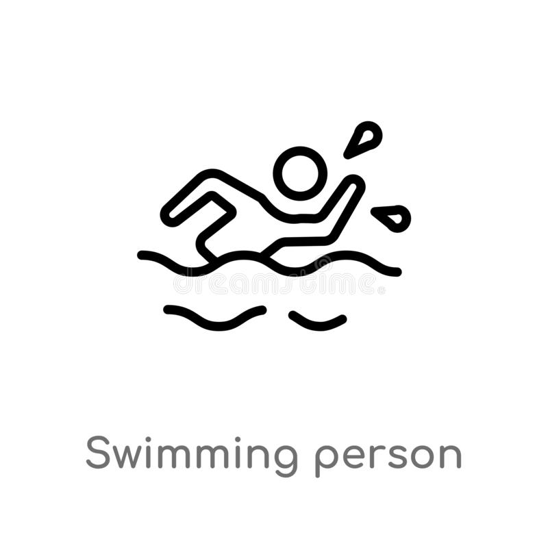 Outline swimming person vector icon. isolated black simple line element illustration from summer concept. editable vector stroke. Swimming person icon on white vector illustration