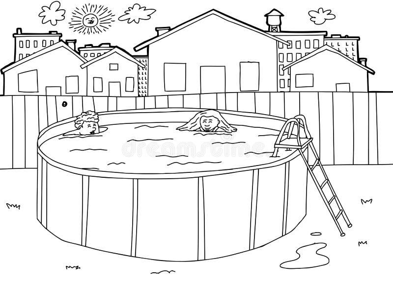 Outline swimming pool scene stock vector illustration of